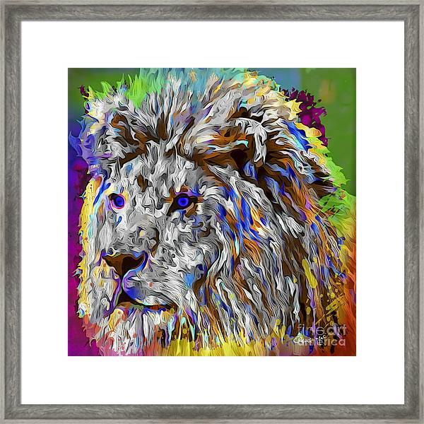 Framed Print featuring the digital art Lion King by Eleni Mac Synodinos