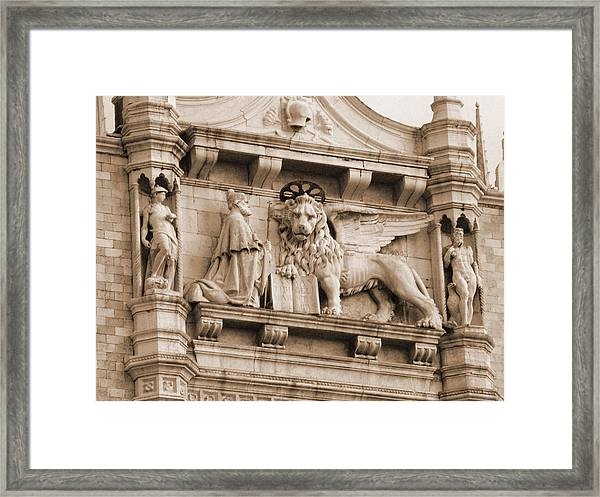 Lion Of Venice With The Doge Framed Print
