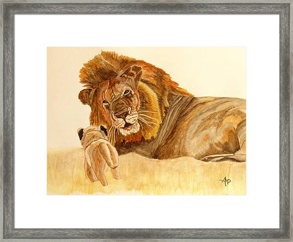Lion Watercolor Framed Print