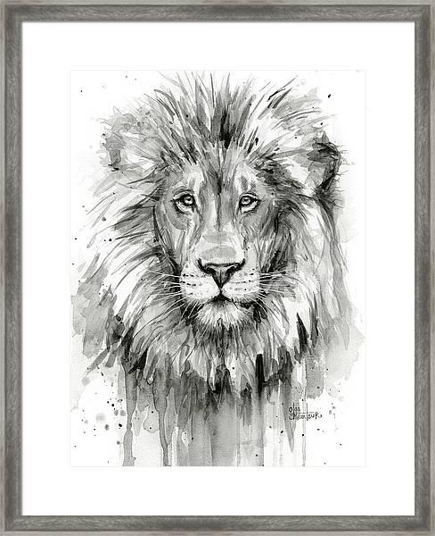 Lion Watercolor  Framed Print