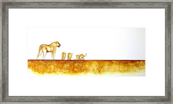 Lioness And Cubs - Original Artwork Framed Print