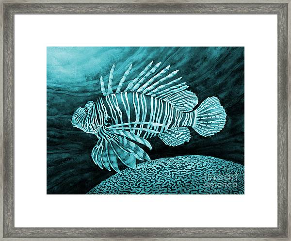 Lionfish On Blue Framed Print