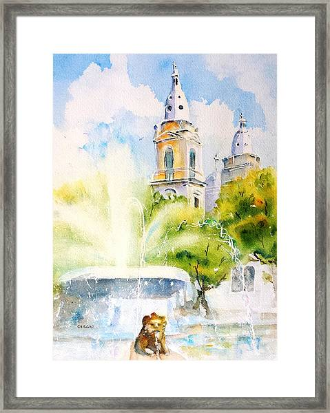 Lions Fountain Plaza Las Delicias  Ponce Cathedral Puerto Rico Framed Print