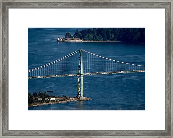 Lions Gate Bridge And Brockton Point Framed Print