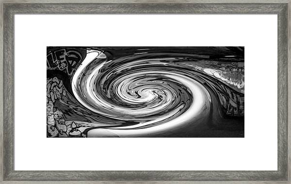 Liquefied Graffiti In Black And White Framed Print