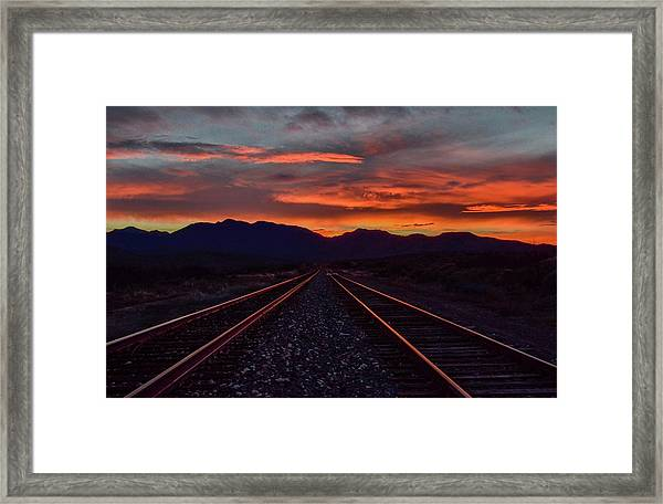 Liquid Copper Flowing Into The Night Framed Print
