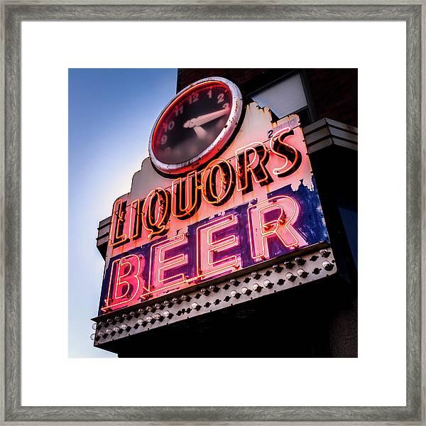 Liquors And Beer On University Ave Framed Print