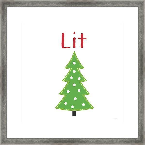 Lit Christmas Tree- Art By Linda Woods Framed Print