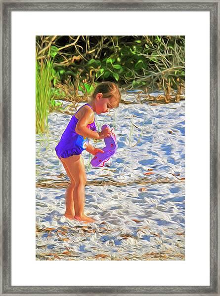 Little Beach Girl With Flip Flops Framed Print