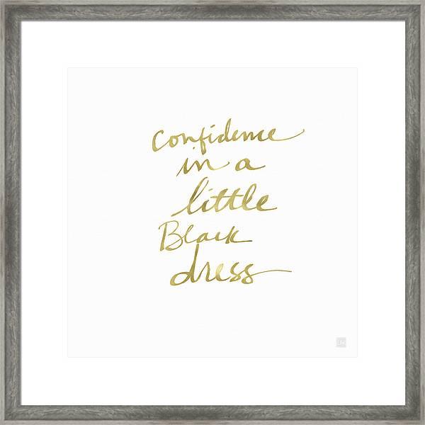 Little Black Dress Gold- Art By Linda Woods Framed Print