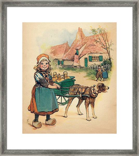 Little Dutch Girl With Milk Wagon Framed Print