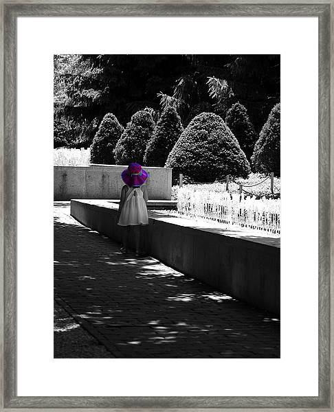 Little Girl In Magenta Hat Black And White Selective Color Framed Print
