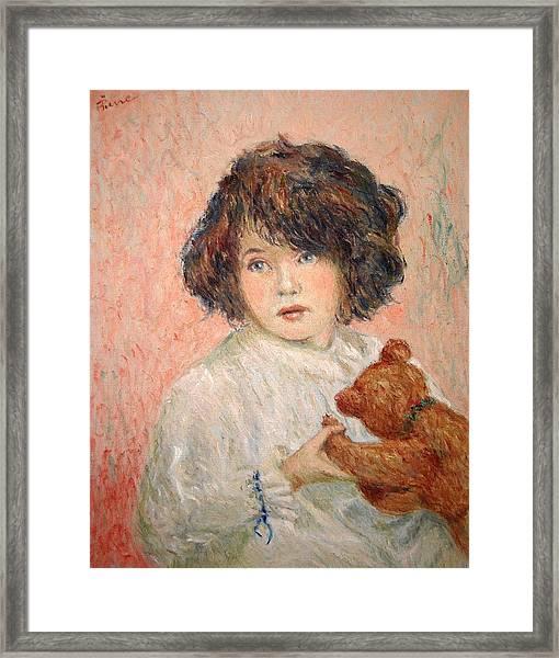 Little Girl With Bear Framed Print
