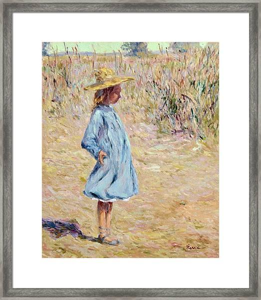 Little Girl With Blue Dress Framed Print