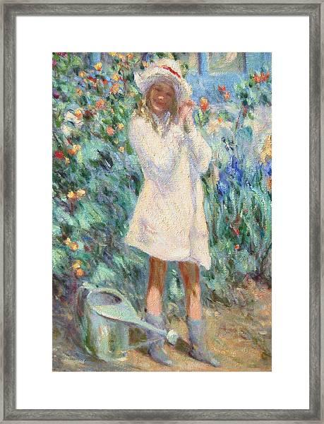 Little Girl With Roses / Detail Framed Print