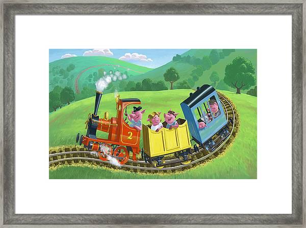 Little Happy Pigs On Train Journey Framed Print