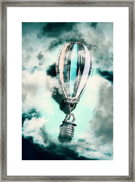 Little Hot Air Balloon Pendant And Clouds Framed Print