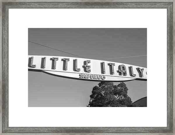 Little Italy Monochrome Framed Print