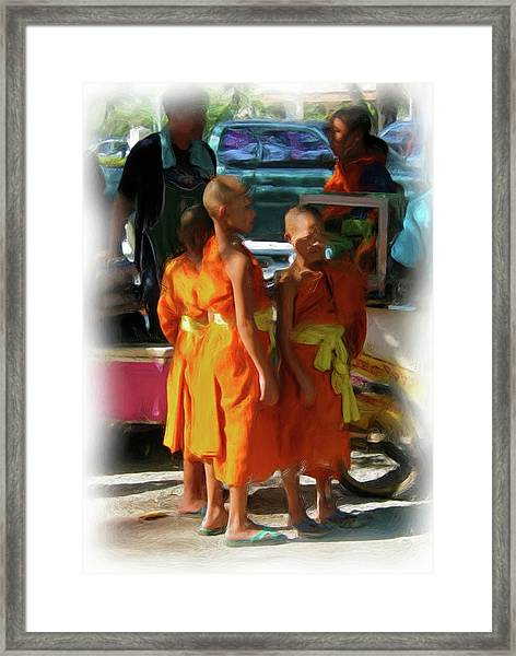 Little Novice Monks 1 Framed Print
