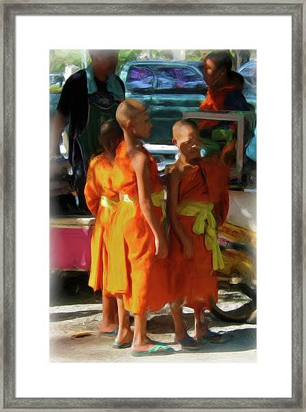 Little Novice Monks 1-cropped Framed Print