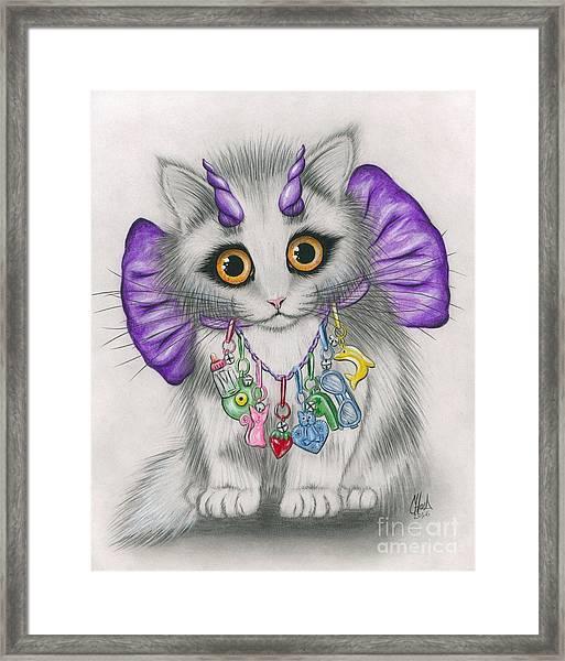 Little Purple Horns - 1980s Cute Devil Kitten Framed Print