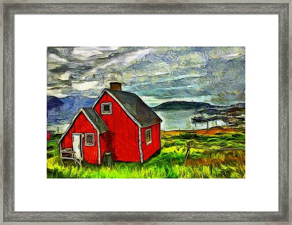 Little Red House In Greenland Framed Print