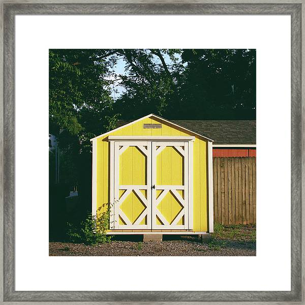 Little Yellow Barn- By Linda Woods Framed Print
