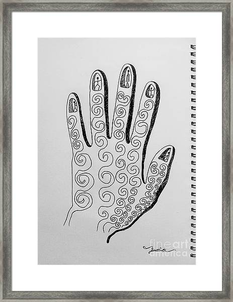 Lives Between The Fingertips Framed Print