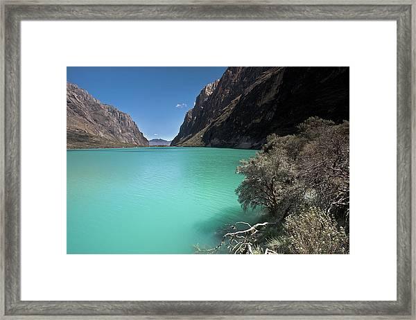 Llanganuco Lakes In Cordillera Blanca Framed Print