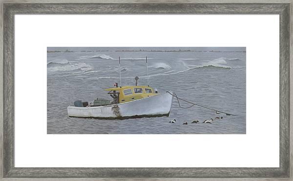 Lobster Boat In Kettle Cove Framed Print