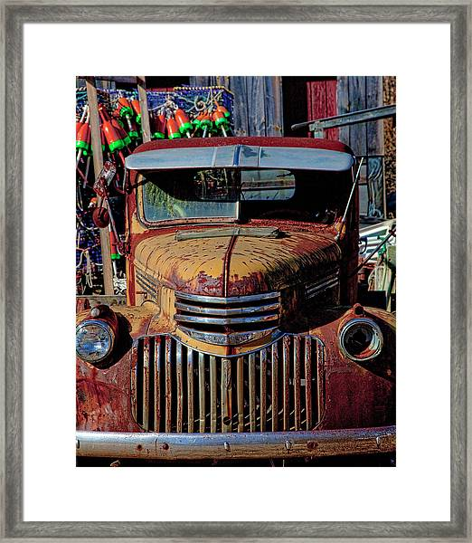 Lobster Pots And Chevys Framed Print