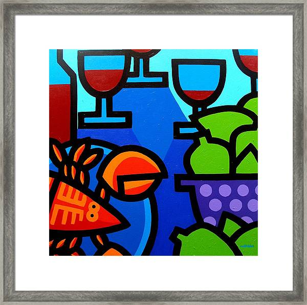 Lobster Wine And Limes Framed Print