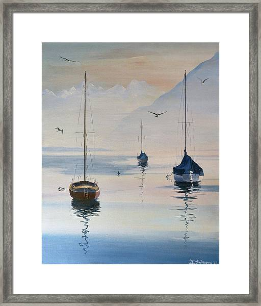 Locarno Boats In February-2 Framed Print