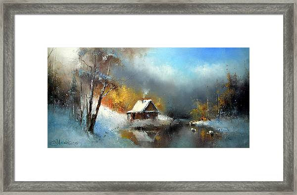 Lodge In The Winter Forest Framed Print