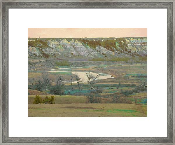 Logging Camp River Reverie Framed Print