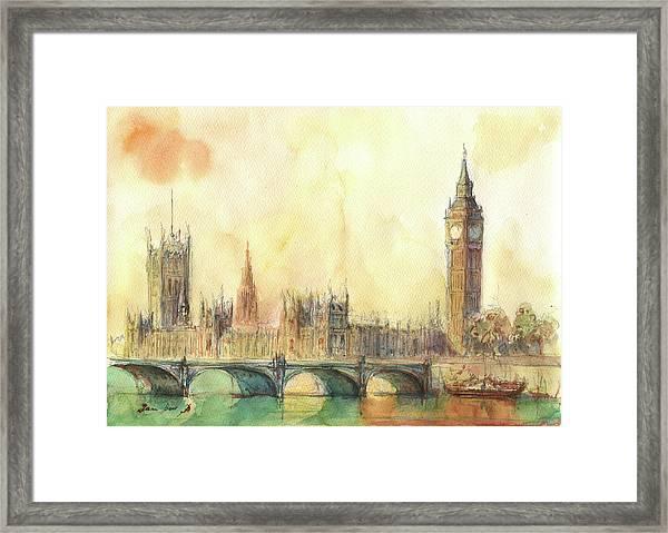London Big Ben And Thames River Framed Print