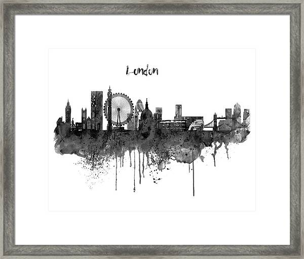 London Black And White Skyline Watercolor Framed Print