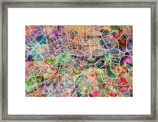 London Map Art Watercolor Framed Print