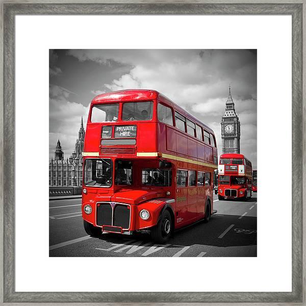 London Red Buses On Westminster Bridge Framed Print