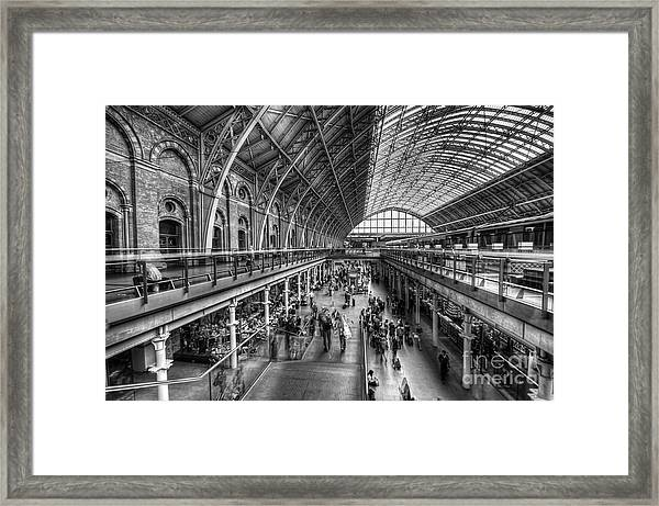 London St Pancras Station Bw Framed Print