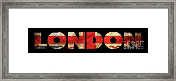 Framed Print featuring the drawing London Vintage British Flag Tee by Edward Fielding