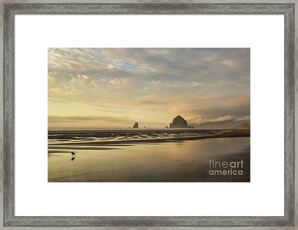 Sunset At Haystack Rock Framed Print