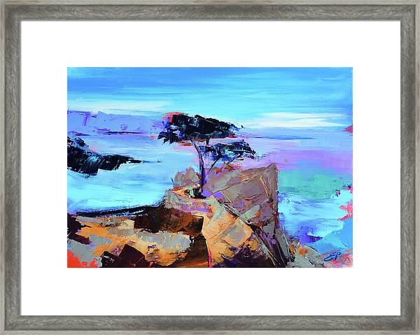 Framed Print featuring the painting Lone Cypress - California by Elise Palmigiani