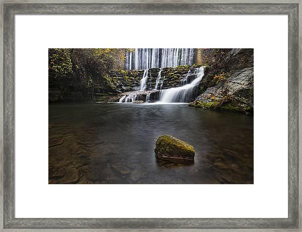 Lone Rock At The Falls Framed Print