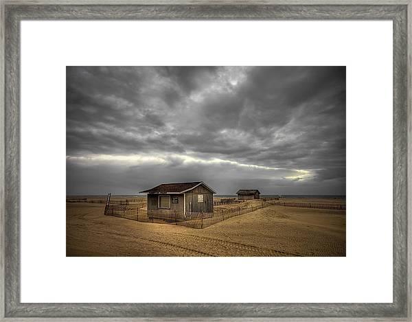 Lonely Beach Shacks Framed Print
