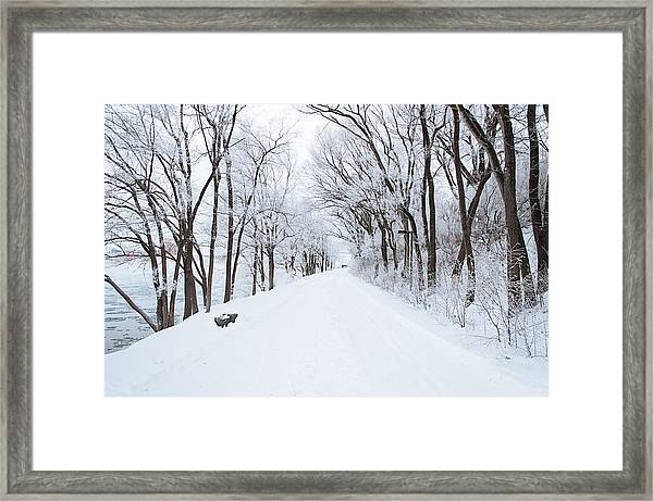 Lonely Snowy Road Framed Print
