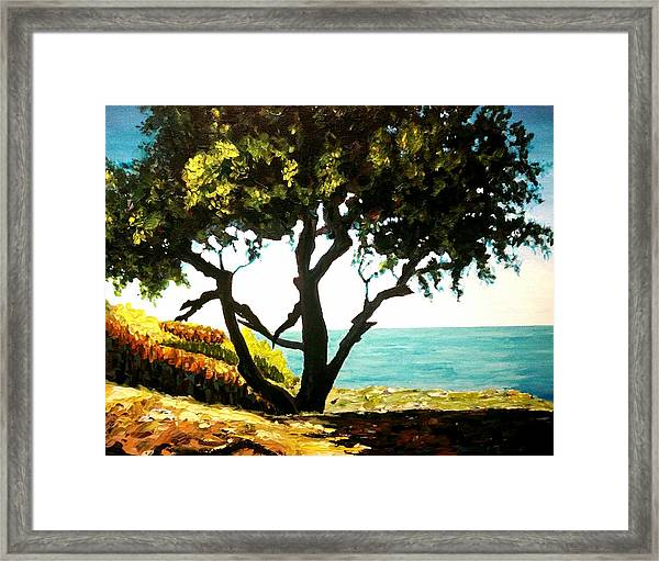 Framed Print featuring the painting Lonely Tree By The Beach by Ray Khalife