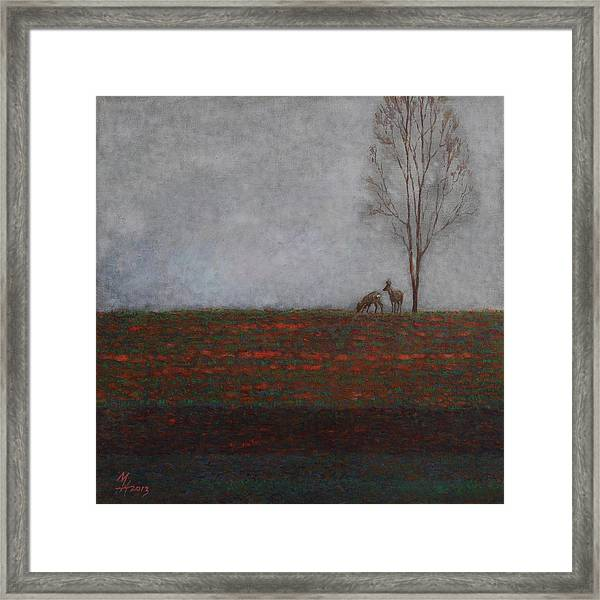 Lonely Tree With Two Roes Framed Print