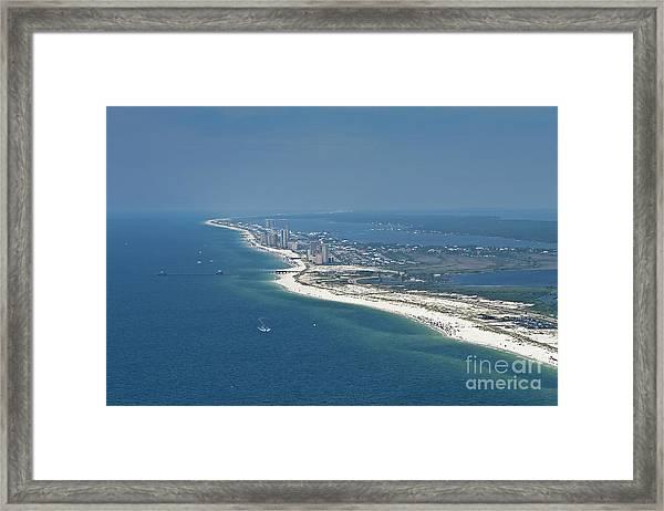 Long, Aerial, Beach View Framed Print