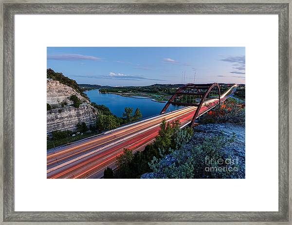 Long Exposure View Of Pennybacker Bridge Over Lake Austin At Twilight - Austin Texas Hill Country Framed Print